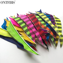 ONTFIHS RW - 50pcs 4 Striped One Side Sting Arrow Feather Fletching For Archery Accessories Fletches Feathers