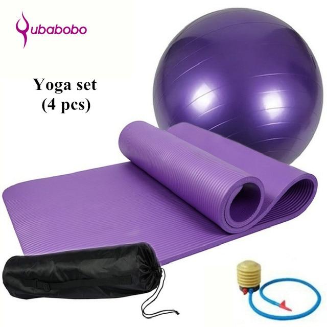 Yoga Set of 4pcs 10mm Non-slip Yoga Mats For Fitness Pilates Exercise Mats+65cm  Yoga Fitness Balls+1 Yoga Bag+1 Pump Air+1 Strap 984309e75