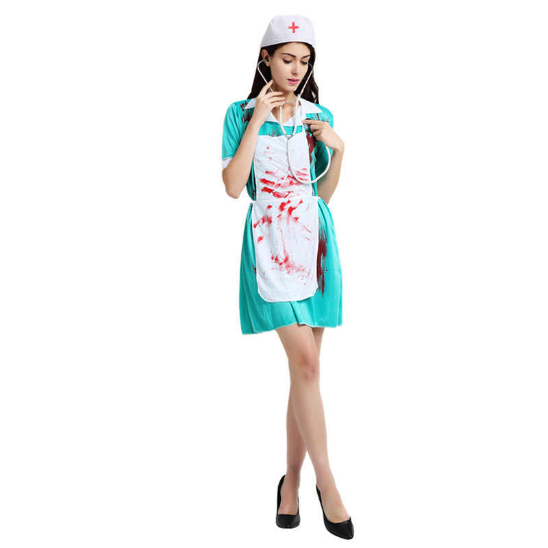 513f708f2c55a ... Cosplay adult Halloween costume horror costume bloody female nurse  clothing male surgical doctor men/women