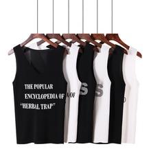 Ice Silk Harajuku summer ladies strapless letter print V neck sleeveless shirt Rib Knit Plain T-shirt BF Basic shirt women's Top недорого