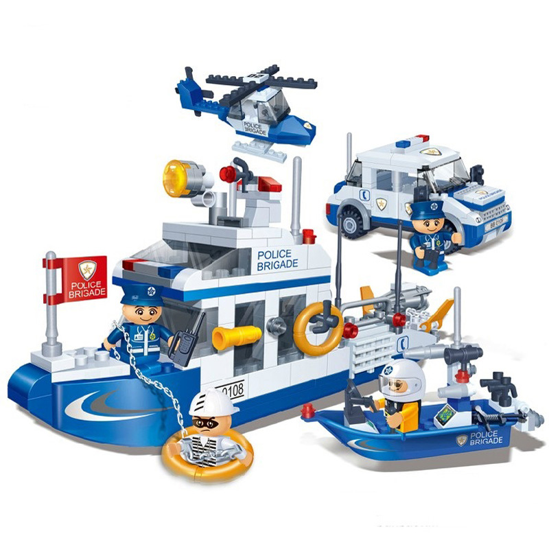 Model building kit compatible with lego police car boat water patrol 3D block Educational model building toy hobbie for children