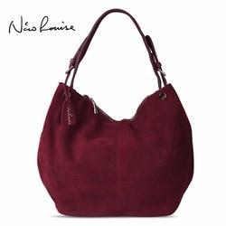 Nico Louise Real dividido de cuero de gamuza bolso de nuevo diseño de ocio femenino hombro bolsas de compras bolso Casual bolsa