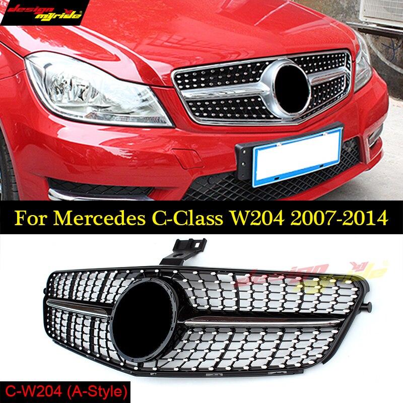 Для Mercedes W204 C180 C200 C250 C350 C400 C450 C220 C250 C300 алмаз авто бампер запасные части спереди гриль сетки 2007 2014
