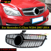 For Mercedes W204 C180 C200 C250 C350 C400 C450 C220 C250 C300 Diamond Auto bumper replacement parts Front grill mesh 2007 2014