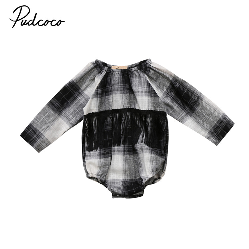 Pudcoco Newborn Infant Baby Girl Plaid Long Sleeve Rompers Jumpsuit Check Outfits Clothes
