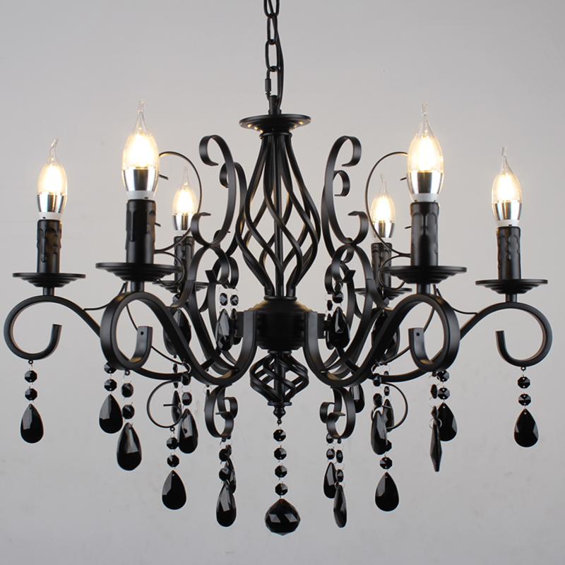 European Candle Chandelier Lighting Living Room Wrought ...