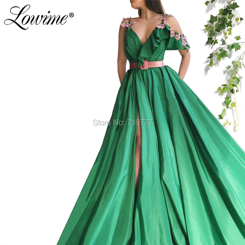 Green One Shoulder Appliqued   Prom     Dresses   2019 Arabic Party   Dress   Robe De Soiree High Split Side Spaghetti Straps Evening Gowns