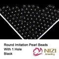 Contas imitação de Pérolas Para Artesanato Resina Preta Pérola Redonda Beads Com Furo 18 g/saco Perfeito Para Decoração DIY Muitos tamanhos
