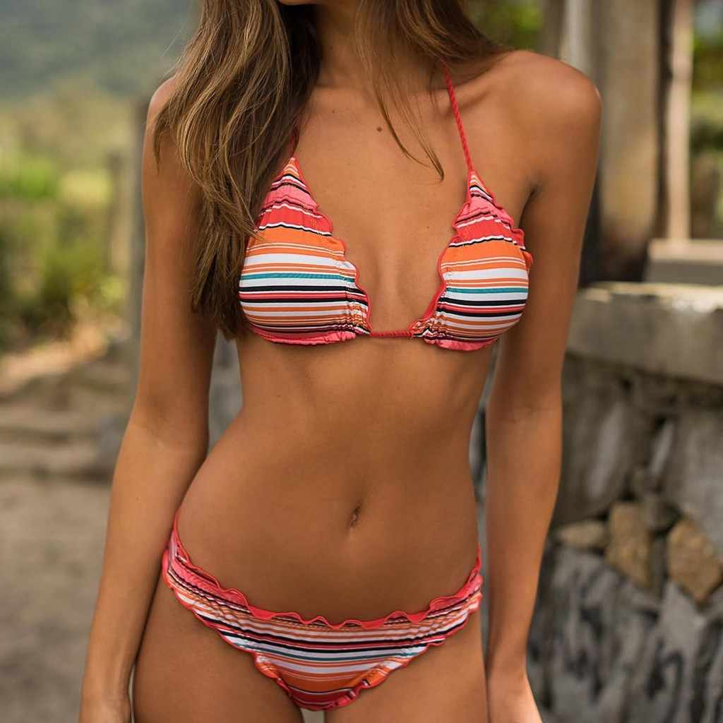 98d8ae49f4 ... 2019 New Bikinis Swimwear Women Sexy Striped Halter Bikini set Tie side  Bandage Swimsuit Swimming suit ...