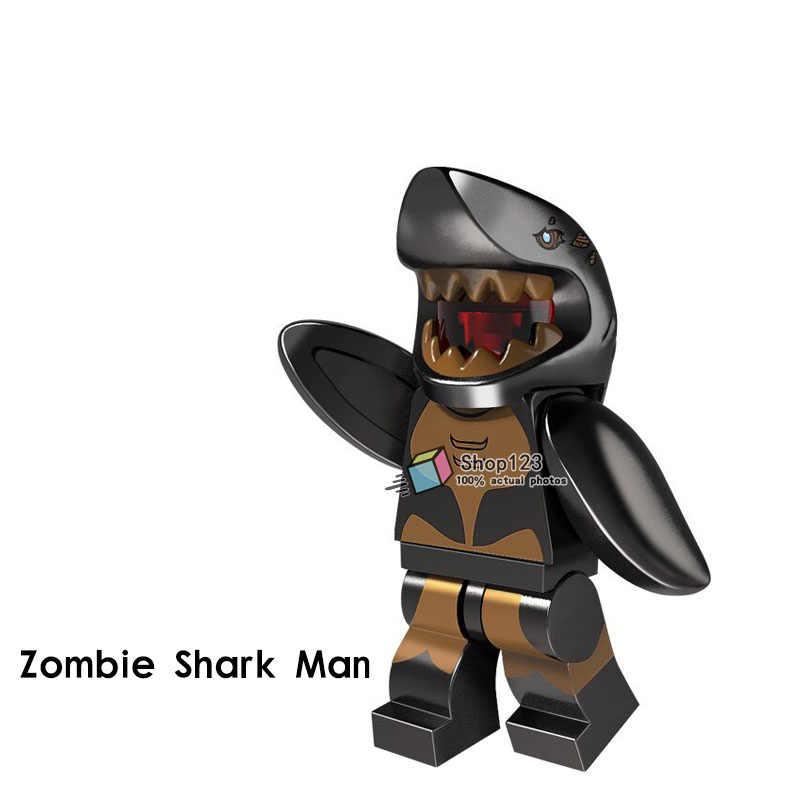 Venta única Zombie tiburón hombre Banana chico pingüino hombre conejo Sr. Helado dorado Pizza patatas fritas bloques de construcción de dibujos animados para chico