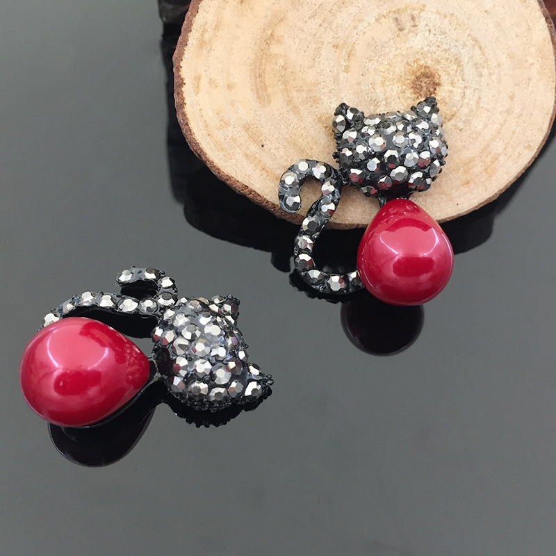 2016New 30Pcs Red Cat Rhinestone Button for Wedding Decoration and DIY hair Accessories  ...