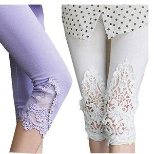 Image 4 - INDJXND Phụ Nữ Mới Giữa Eo Quần Mùa Hè Đầu Gối Rỗng Quần Ren Thời Trang Nữ Quần Dài Cotton Ra Hoa Mỏng Quần Skinny