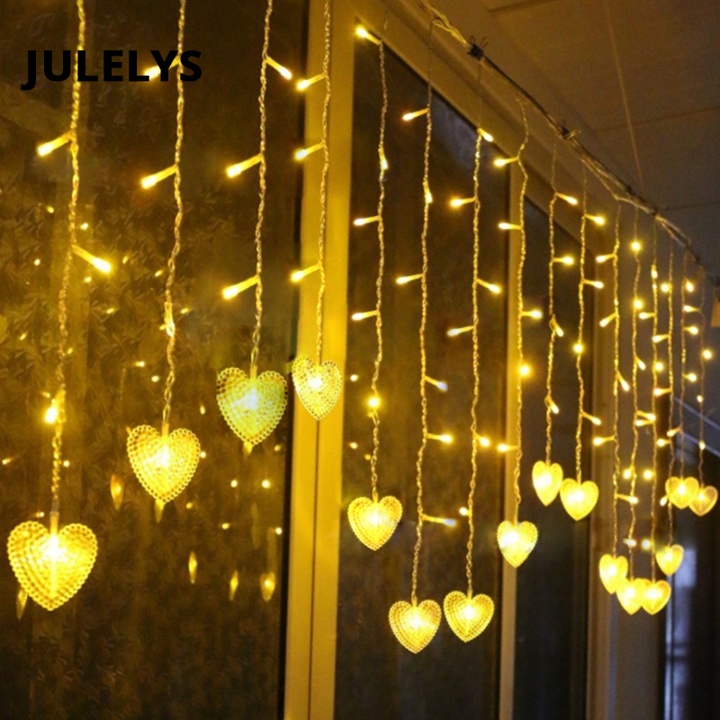 JULELYS Fairy Lights Heart LED Curtain Garland Window Gerlyanda Christmas LED Lights Decoration For Wedding Holiday Party Room