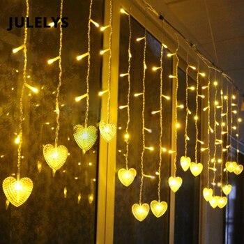 9a1dca0881a Luces de hadas JULELYS corazón LED cortina guirnalda ventana Gerlyanda  Navidad luces LED decoración para bodas fiesta habitación