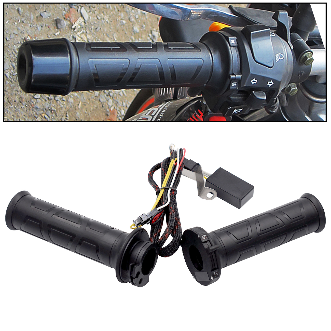 1 Pair 12V 12W-24W 22MM Motorcycle Handlebar Adjustable temperature Universal Electric Heated Handle with Heat-Shrinkable T Bush