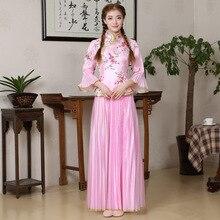 Donne eleganti Floreale Qipao Vintage Tradizionale Cinese Collare Del Mandarino Cheongsam Sexy Da Sposa Abito Da Damigella Donore Più Il Formato 3XL