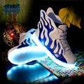 2016 Новая Мода Дети Кроссовки LED Световой USB Аккумуляторная Мальчиков Повседневная Обувь Размер 25 ~ 37 Девушки Красочные Мигающие Огни обуви
