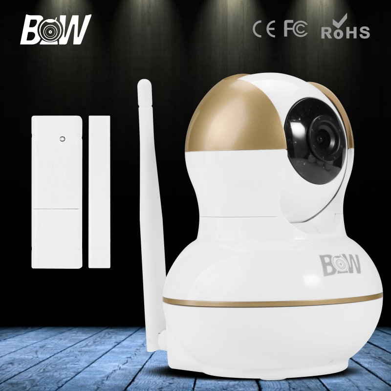 BW HD WiFi IP Camera 720P Network Surveillance Wireless Security Camera Wi-Fi for Android IOS Onvif + Door Sensor Device bw wireless wifi door