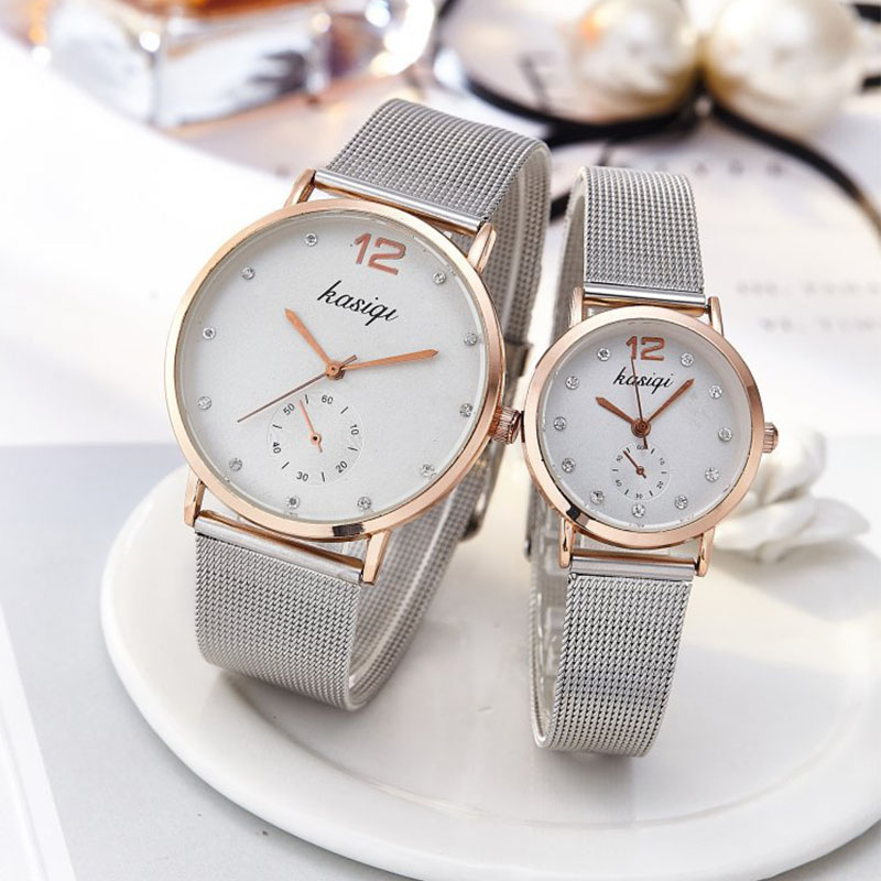 Romantic Couple Watch Men's & Women's Stainless Steel Quartz Wristwatches Fashion Silver Series Clock Watches Free Shipping Sale