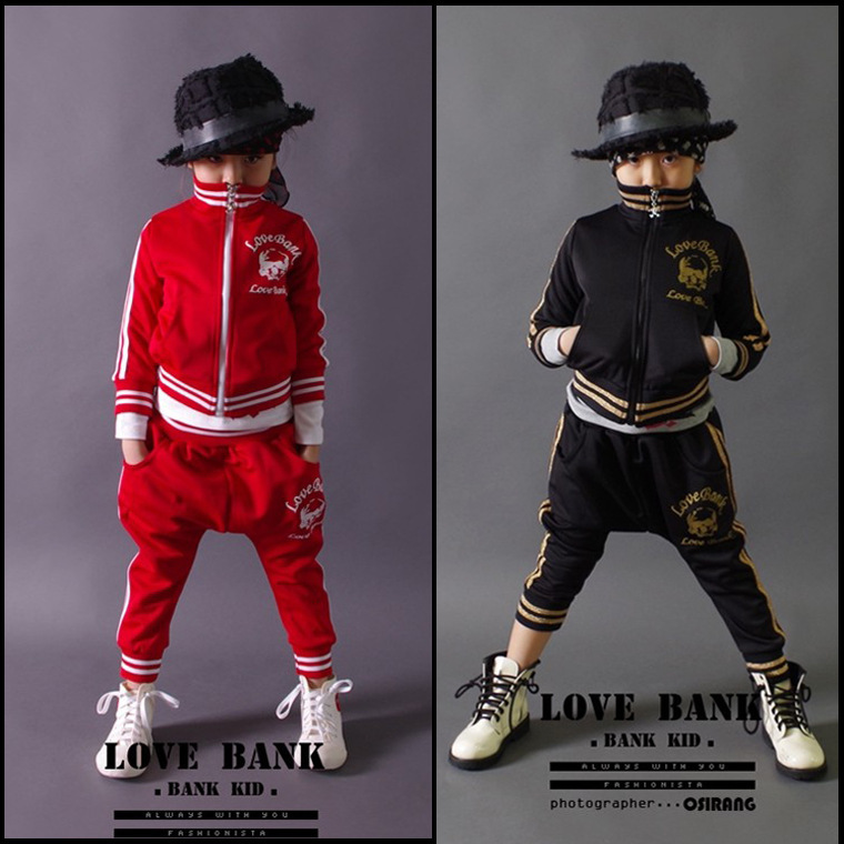 Brand Baby Boys Clothes Set Red Black Hip Hop Kids Sportwear Clothing Set Cotton Children ...
