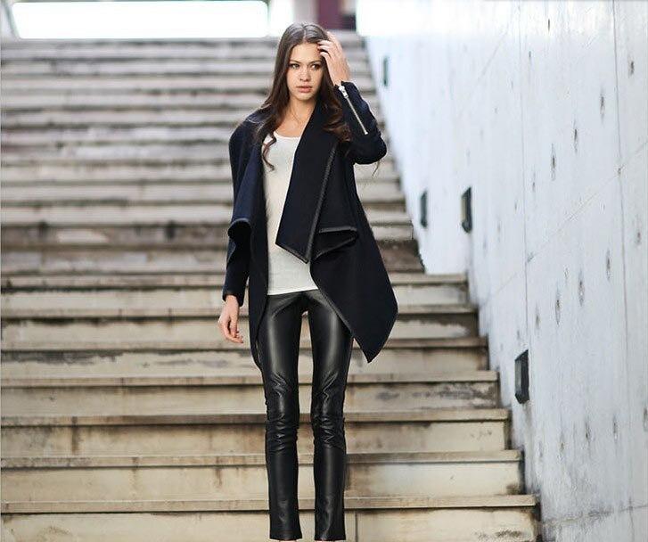 Women Asymmetric Coat Free Shipping Fashion Women Coat Jacket 3S66151 Hot Sale 2015 New Womens Cool Long Sleeve Coat