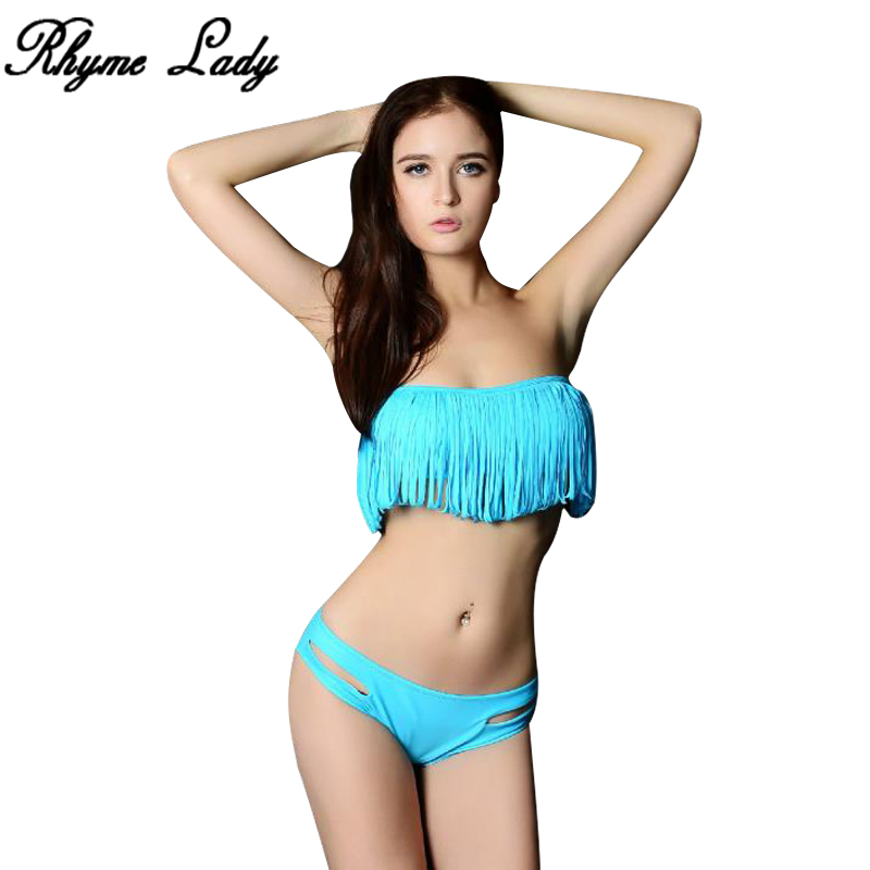2017 new tassels swimwear women bikini set Brazilian beach girls swimsuit summer sports swim wear sexy bathing suit biquini ...