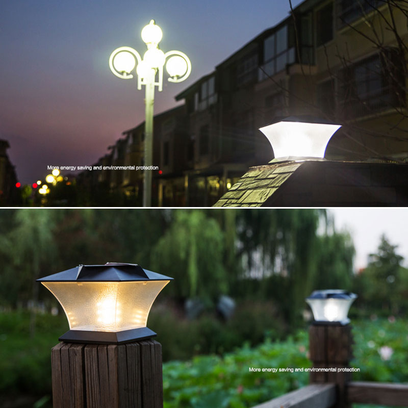 Solar Powered LED Post Deck Cap Square Fence Landscape Lamp Light Waterproof IP65 Landscape Lamp Garden veiw Decorations