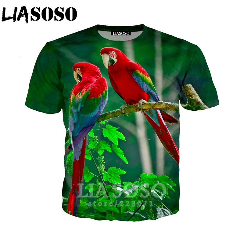 LIASOSO Summer New Fashion Men Women Sweatshirt 3D Print Animal Parrot T Shirt Short Sleeve Hip Hop Harajuku Pullover A199-01