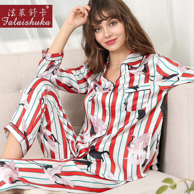 Pijama Feminino de Impressão Digital de Seda Real 100% Bicho de Seda Sleepwear da Mulher Longo-Luva Two-Piece Conjuntos de Pijama T8171