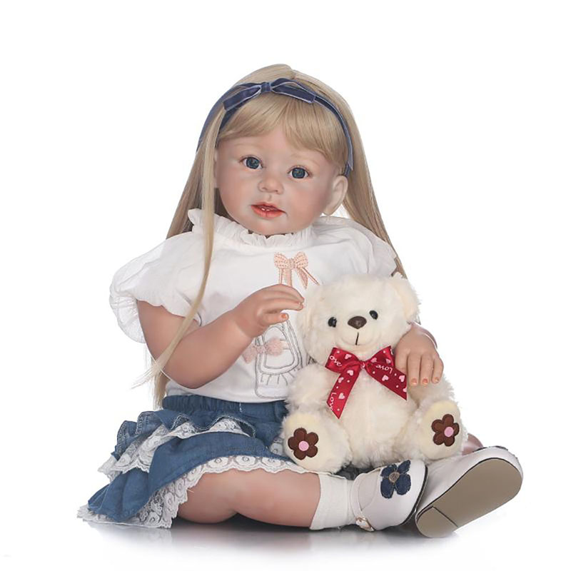 70cm Lifelike Silicone Reborn Baby Doll Handmade Cotton Body Blond Hair Newborn Toddler Girl Dolls Best Playmate for Kids photo shoot