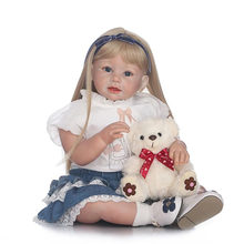 70cm Handmade Baby Girls Dolls Realistic Soft Silicone Reborn Toddler Dolls Lifelike Vinyl Babies Princess Dolls Toys for Kids(China)