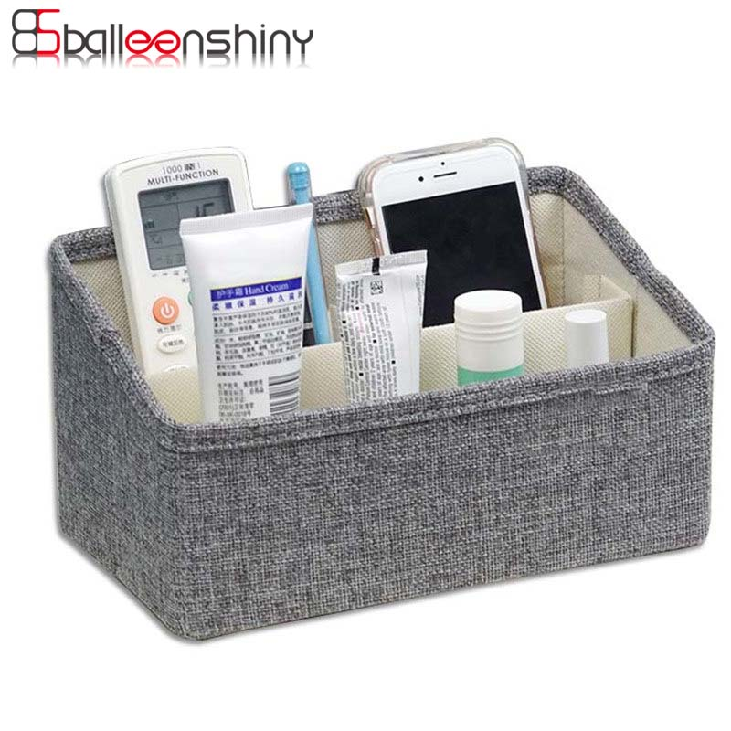 BalleenShiny Linen Storage Box Makeup Cosmetic Foldable Organizer Boxes  Desktop Sundries Pen Pencil Storage Basket Container