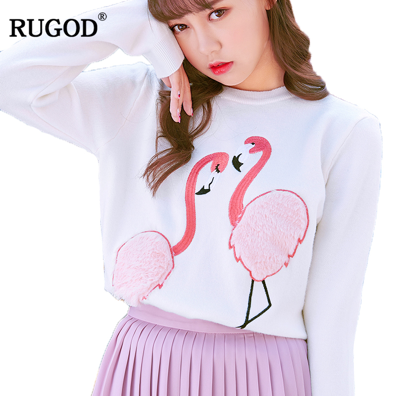 Rugod 2018 New Autumn Winter Cashmere Sweater Women Pullover Jumper O-Neck Long Sleeve Swan Embroidery Warm Christmas Sweater