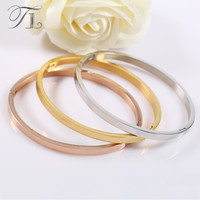 TL 3 Pcs Lot Gold Silver Rose Gold Solid Stainless Steel Bangles Bracelets High Quality Bangles