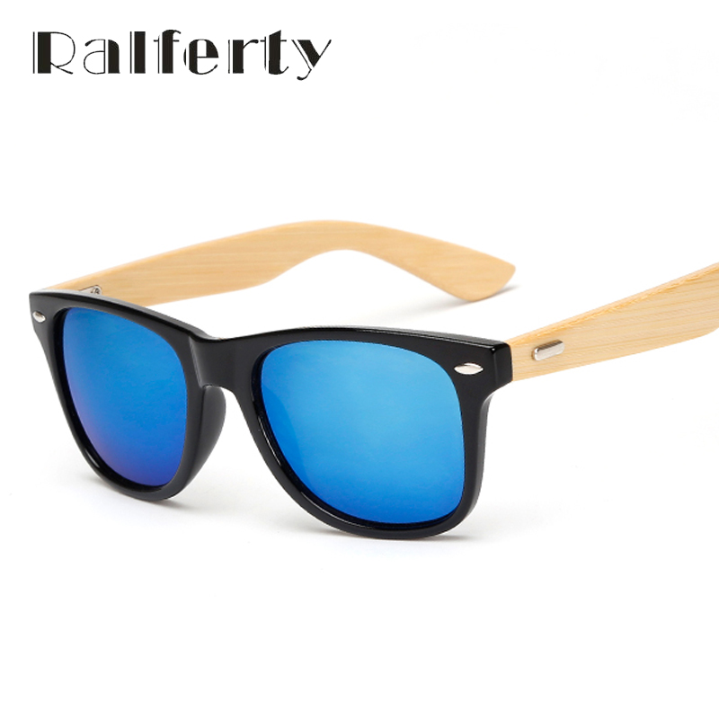 4d68f7ae3127 Ralferty Retro Wood Sunglasses Men Bamboo Sunglass Women Brand Design Sport  Goggles Gold Mirror Sun Glasses