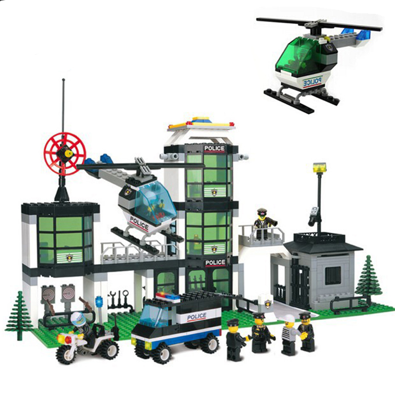 Police station Action Figures Building Blocks Toy Compatible Legoings Minecraft City Educational Bricks For Kids playmobil police station model building kit blocks playmobil helicopter blocks diy bricks educational toys compatible legoings city police