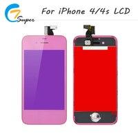 1 unids no dead pixel Pink LCD del espejo para el iPhone 4 4S LCD pantalla táctil con digitalizador Asamblea back cubierta + botón casero