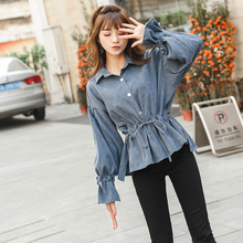 Puff Sleeve Corduroy Women Shirts Solid color Ladies Casual Tops Loose Female Elastic Belt Outerwear Feminino High Quality