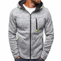 Winter Fleece Jacket Men Warm Hooded Coat Mens Long Sleeve Solid Casual Outwear Zipper Jackets