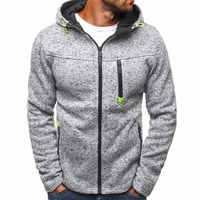 Winter Fleece Jacket Men Warm Hooded Coat Mens Long Sleeve Solid Casual Outwear Zipper Jackets