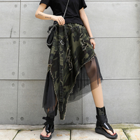 Women Summer Camouflage Leopard Printed High Waist Skirts Ladies Sexy Mesh Irregular Streetwear Loose Casual Skirt