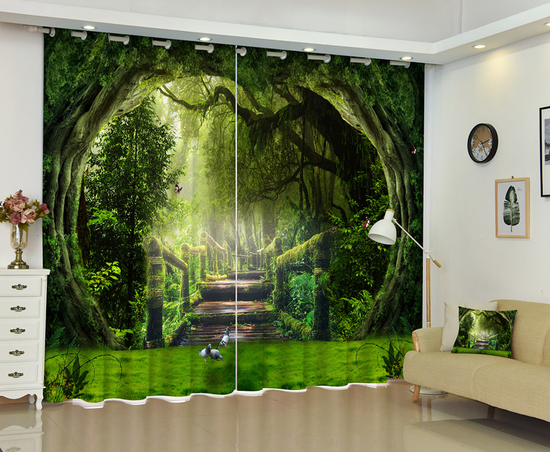 Landscape Of Ancient Forest 3D Window Curtain For Living Room