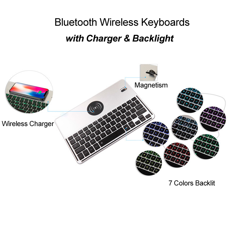 Bluetooth Wireless Mini Keyboards & Phone QI Charger for iOS Android Windows Laptop 7 Colors Backlight Keyboard with Touchpad 2 4g mini wireless keyboard touchpad numeric keyboard charging switch screen for desktop laptop table
