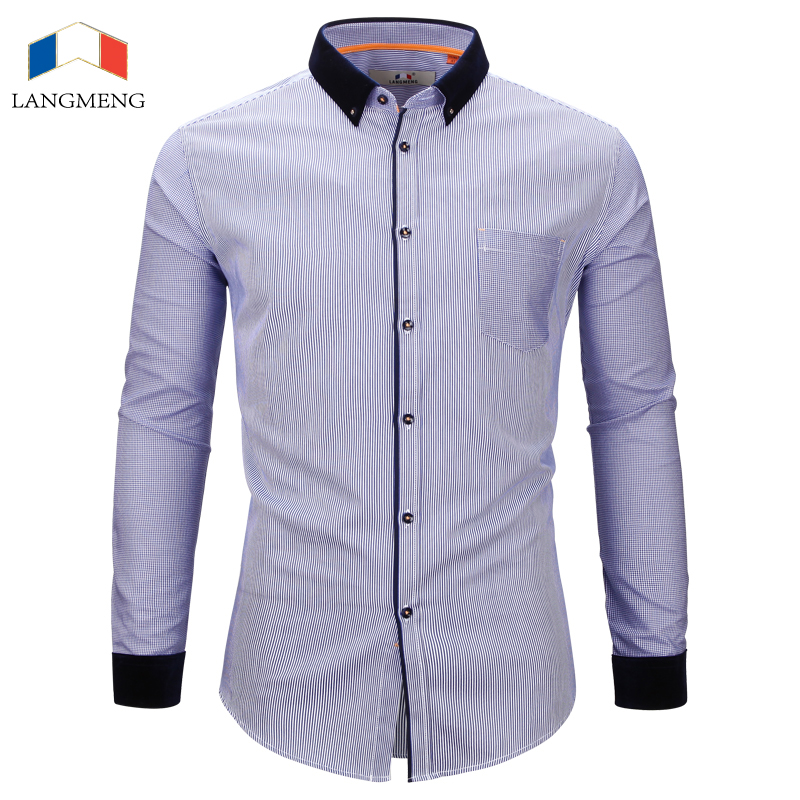 4f530e08e54 Langmeng 2017 wholesale spring autumn new male long sleeve 100% cotton  casual shirt mens striped dress shirt men chemise homme