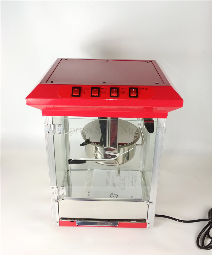 Red Popcorn Machine Commercial Corn Popper with Rocking Kettle 3minutes/1tray Production 1175w popcorn popper machine household popcorn maker retro style corn popper 2 5oz rocking type kettle