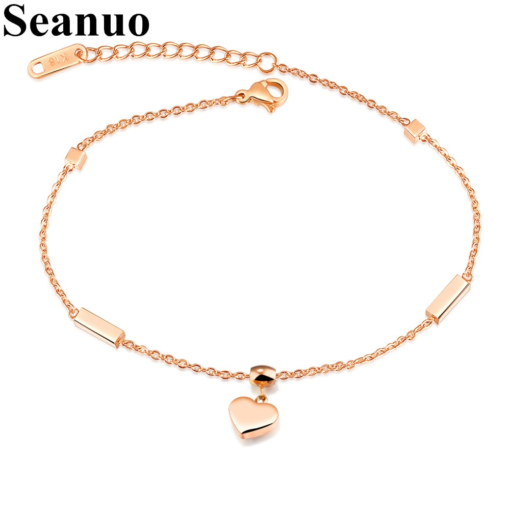 Dutiful Seanuo Hert & Cube Charm Anklets For Women Rose Gold Color Stainless Steel Ladies Female Foot Bracelet Friendship Ankle Jewelry Jewelry & Accessories