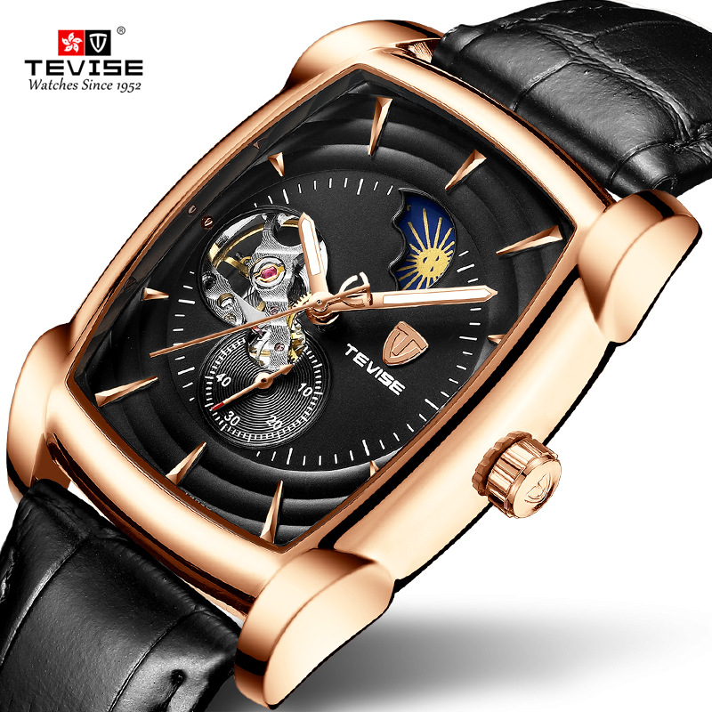 Tevise Mechanical Men s Watches Automatic Self Wind Man Watch Tonneau Dial Moon Phase Luminous Male