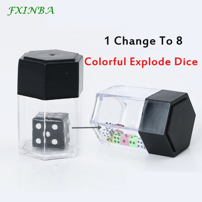 FXINBA Magic Explode Dice Box Set Magic Tricks Props Close Up Easy Magic Trick For Professional Magicians Prank Joke Toy Kids