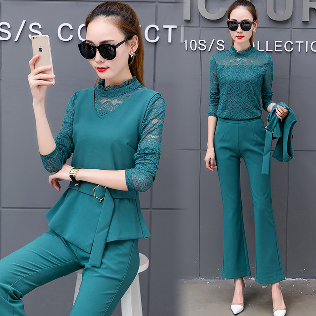 3 pieces set 2017 Women Clothing Elegant Lady Clothing Set 4 Colors S-2XL Autumn long Sleeve Lace Blouse+pants+Vest pant suits