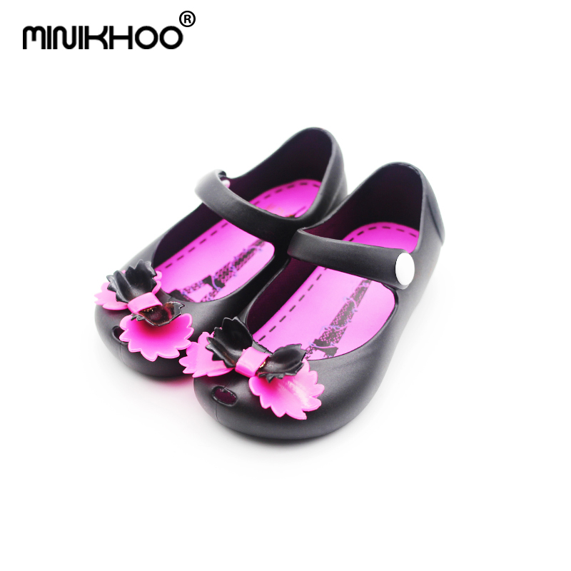 Mini Melissa 2018 Bow Girl Jelly Sandals Water Shoes Children Sandals Jelly Shoes Baby Sandals Waterproof 3 Color Beach Sandals